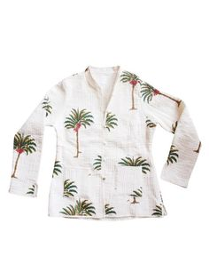 """<hr /> <p style=""""text-align: left;"""" align=""""center"""">Palmtree Jacket</p>   <hr /> <p style=""""text-align: left;"""" align=""""center"""">The perfect supplier to work with, this typical Indian man Mr. Bharatis an amazing inspiration for us. While on the hunt for some unique products within the streets op Pushkar, we have never seen so many amazing products. We've seen some typical Indian jackets and there it was, as thunder by lightning. We decided to translate these traditional Indian cotton jackets to…"""