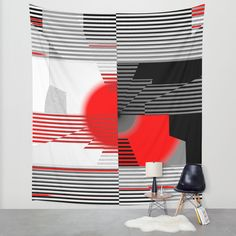 black and white meets red Version 4 Wall Tapestry by Christine Baessler | Society6