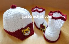 fjc149-Peaked Cap and Booties Baby Crochet Pattern | Craftsy
