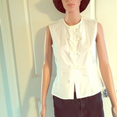 Agnes B tank.  Spring sale.  Beautiful white Agnes B tank with bow tie Velcro closures. Agnes B Tops Tank Tops