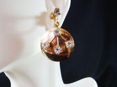 Gold Rhinestone Dangle Earrings 50's Vintage Gold Dangle | Etsy Seed Bead Earrings, Dangle Earrings, Beaded Necklace, Gold Rhinestone, Rhinestones, 50s Vintage, Vintage Jewelry, Unique Jewelry, Screw Back Earrings