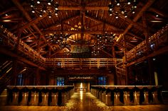 The absolutely stunning Great Hall at Sunriver Resort once served as the officer's club for Camp Abbot, a US Army training center during World War II. Army engineers used more than 500 hand-hewn logs and tons of native rock for the 50 by 96 foot lodge.