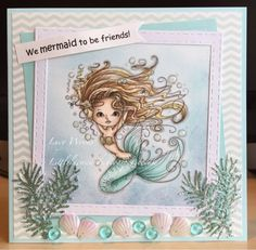 Little Lucy's Handmade Cards: We Mermaid to be friends! (Polkadoodles)