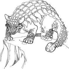 Ankylosaurus, : Ankylosaurus Stand at the Edge of the Cliff Coloring Page Online Coloring Pages, Adult Coloring Pages, Coloring Sheets, Drawing Sketches, Drawings, More Pictures, Character Art, Cliff, Presentation