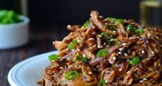 Would be great as lettuce wraps. Slow cooked asian-style chicken recipe.