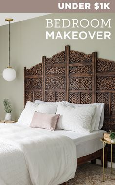 Save hundreds by using a wood screen room divider as a high end carved headboard! Bed Divider, Room Divider Headboard, Room Divider Screen, Divider Ideas, Room Dividers, Boho Bedroom Diy, Wood Bedroom, Bedroom Decor, Bedroom Ideas