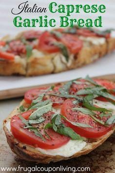 Italian Caprese Garlic Bread Recipe – Tomatoes, Mozzarella and Basil #recipe #italian #garlicbread
