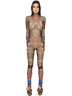 DSQUARED2 Tribal Printed Sheer Stretch Jumpsuit, Multicolor. #dsquared2 #cloth #jumpsuits