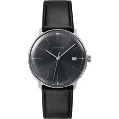 Junghans 041/4465.00 Max Bill stainless steel and leather quartz watch ($490) ❤ liked on Polyvore featuring men's fashion, men's jewelry, men's watches, black, mens quartz watches, mens stainless steel watches and mens leather watches