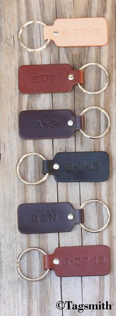 Check out this custom 2-sided key fob. You can have your wedding date stamped…