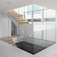 glass wall stair construction - Google Search