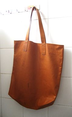 brown leather tote bag by redpeppers on Etsy. $85.00, via Etsy.