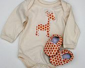 LONG sleeve Giraffe Organic Bodysuit in Orange Spots with Matching Handmade Organic Baby Shoes- Gift for  0 3  6 12 18 months- Baby Clothes