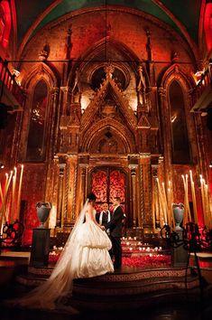 Dracula Inspired Halloween Wedding - bride's dress by Ines Di Santo