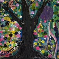 """WIP """"Compassion"""" acrylic paint, mono print paper on 6"""" x 6"""" canvas. Headed to the Edgar Road School Trivia Night this weekend!  #art #acrylicpainting #Compassion #janemilesart #tree #colorful #inspiration #goldenpaints #liquitex #artist #bloomtrue #gelliarts #painting #nature"""