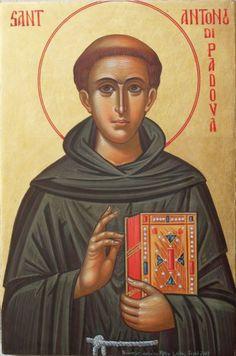 Saint Anthony of Padua Religious Pictures, Religious Icons, Religious Art, Byzantine Icons, Byzantine Art, Catholic Saints, Patron Saints, Saint Antonio, Saint Anthony Of Padua