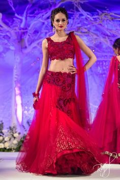 asiana mongas red floral lengha