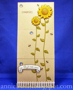 A tri-fold continuous scene sunflower card using Lawn Fawn stamps and colored with Prismacolor pencils and colorless blender.  Additional details on blog.