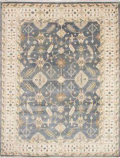 Hand-knotted Royal Ushak Grey Wool Rug