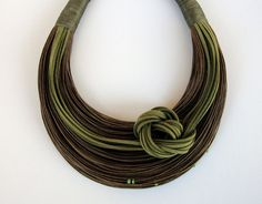 Olive Green and Brown Fiber Statement Necklace by superlittlecute, $54.00