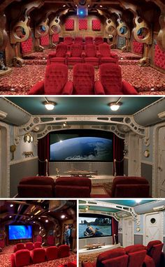 Anyone who has the funds to create a home movie theater also has enough money to embellish it a little. The fixtures in the red Nautilus themed room showcase a cozy and elegant design that matches well with the descriptions from the original science fiction tale. The room with the white submarine doors is much more authentic and rough, which is likely favored by true naval aficcionados.