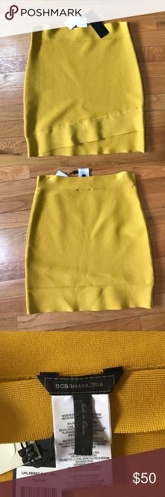 Mustard Color BCBG spandex skirt NWT BCBG skirt. Super cute and can be paired with anything! Great fitted skirt! BCBGMaxAzria Skirts