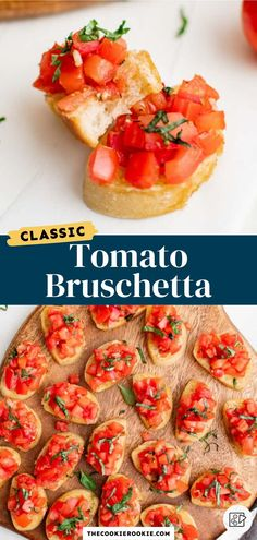 Delicious to eat and so easy to make, this tomato bruschetta recipe makes a great finger food appetizer. Made with tomatoes mixed with balsamic vinegar, herbs and garlic on crispy slices of baguette, they are sweet, tangy and super tasty! How To Make Bruschetta, Easy Bruschetta Recipe, Bruschetta Toppings, Tomato Bruschetta, Game Day Appetizers, Finger Food Appetizers, Easy Appetizer Recipes, Finger Foods, Tasty Bites