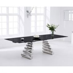Sepia Extending Dining Table In Black Glass And Stainless Steel extendable dining  table and chairsParini Extendable Dining Table Rectangular In Grey Gloss  . Glass Dining Table Ebay Uk. Home Design Ideas