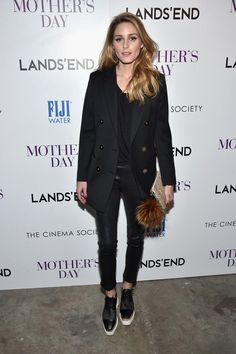 Olivia Palermo wearing Reiss Lavinnia Double-Breasted Blazer, Fendi Archie Bag Bug Charm and Stella McCartney Elyse Woven Platform Oxfords