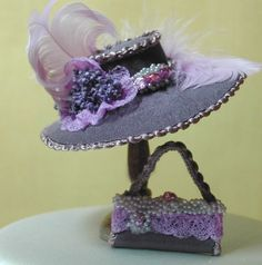 miniature dollhouse brides | Hat And Purse by Felma