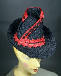 BLACK with RED TEXTURED STRAW 40's VINTAGE TILT HAT - HIGH TWISTED CONE CROWN - AVAILABLE FOR SALE AT RPVINTAGE.COM