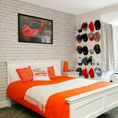 White teenage boy's bedroom with cap wall display, formula 1 poster and white exposed brick wall