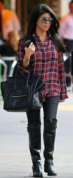 Who made Kourtney Kardashian's red plaid top, aviator sunglasses, skinny jeans, black ruffle boots and black handbag that she wore in New York on September 20, 2011? Purse – Celine  Shirt – Kova  T  Jeans – Seven for All Mankind  Shoes – Valentino  Purse – Celine  Sunglasses – Porsche