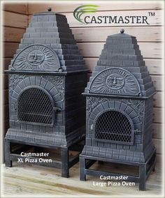 Buy the Castmaster - Versace style Cast iron outdoor Pizza oven online from the largest range of chimineas in the UK . Modern Outdoor Kitchen, Outdoor Kitchen Bars, Outdoor Kitchens, Outdoor Rooms, Outdoor Living, Cast Aluminium Garden Furniture, Four A Pizza, Xl Pizza, Cast Iron