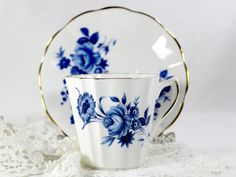 Lefton Bone China Blue and White Teacup, Vintage Tea Cup and Saucer, Made in England