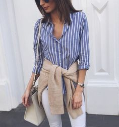 striped shirt, camel sweater