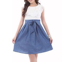 #Cute #beautiful #fashion #chiffon #jean #mini #dress