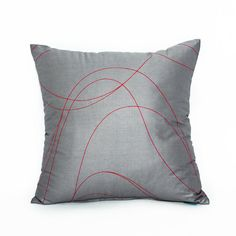 "16"" X 16"" Modern Gray & Red Swirl Throw Pillow Cover"