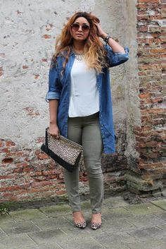 Plus Size Fashion for Women. Olive pants, white tee, denim/chambray shirt, leopard flats and clutch.