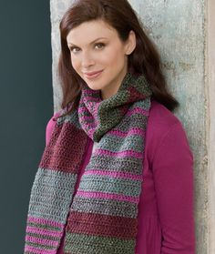 Easy Striped Scarf Free Crochet Pattern from Red Heart Yarns