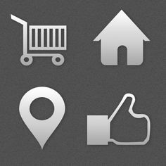 Assorted Shapes Shopping cart, pin, home, and like (upvote) shapes by Peter Širka / Badges, Shapes, Badge