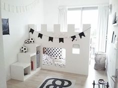 Bildergebnis für bunk beds with desk ikea hack Ikea Kura Hack, Ikea Kura Bed, Ikea Hacks, Kids Castle, Castle Bed, Big Girl Rooms, Boy Room, Kids Room Design, Kid Spaces