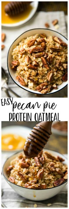 Rise and shine for the most irresistibly delicious oatmeal you've ever tasted! This Easy Pecan Pie Protein Oatmeal is a nutritious morning meal packed with protein and loaded with pecan pie yumminess! AD