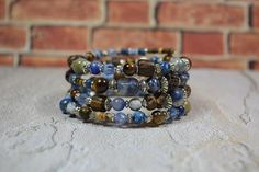 Sodalite with Wood Beaded Bracelet Blue Rustic Memory Wire