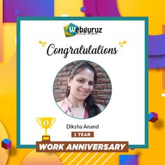 Many Congratulations Diksha Anand on completion of 1 year in Webguruz. Every organization requires a strong team player like you. We are proud to have you with us. Continue to shine. . Have a happy first work anniversary.👍 . #WorkAnniversary #Anniversary #Happy #ManyMoreToCome #EmployeeAppreciation #WorkCulture #Celebrations #HappyWorkAnniversary #webguruz