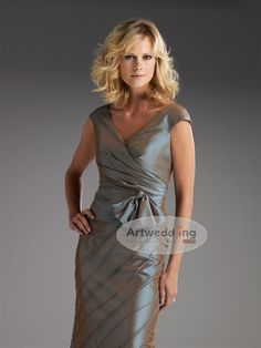 Cap Sleeved Ruched and Beaded Taffeta Sheath Mother of the Bride Dress with Bow
