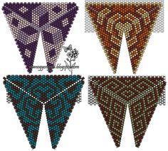 """Кулоны треугольные и """"Красный камень"""" / Кулоны и подвески / Biserok.org Triangle Pattern, Peyote Beading Patterns, Peyote Stitch Patterns, Loom Beading, Triangles, Beading Techniques, Beading Tutorials, Seed Bead Crafts, Beaded Jewelry"""