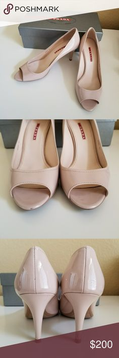 Prada shoes size 39.5 Perfect condition  We're worn once  Just one damage to one of the heels, it was glued back , not visible when worn. Comes with original box and dustbag Prada Shoes Heels