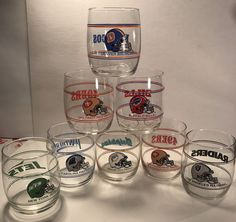 "Set Of 8 Vintage NFL Tumbler Drinking Glass NFL Football 3.5"" tall Mobil promo  