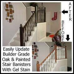 Updating A Builder Grade Oak/Painted Banister With Gel Stain- Yes you can use gel stain over white paint!